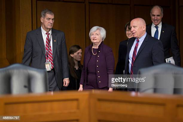 Janet Yellen chair of the US Federal Reserve center arrives to a Joint Economic Committee hearing with Representative Kevin Brady a Republican from...