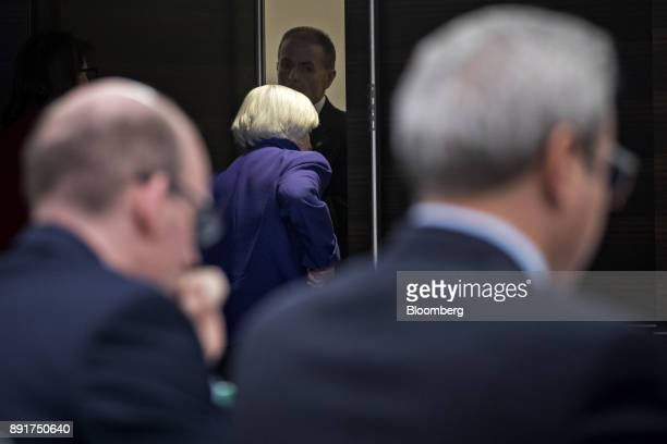 Janet Yellen chair of the US Federal Reserve center exits after a news conference following a Federal Open Market Committee meeting in Washington DC...