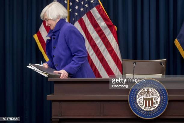 Janet Yellen chair of the US Federal Reserve exits after a news conference following a Federal Open Market Committee meeting in Washington DC US on...