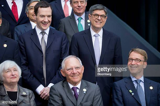 Janet Yellen chair of the US Federal Reserve from left George Osborne UK chancellor of the exchequer Wolfgang Schaeuble Germany's finance minister...