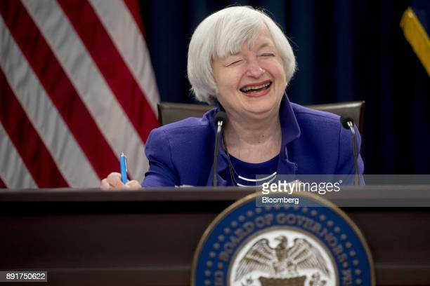 Janet Yellen chair of the US Federal Reserve laughs in response to a question during a news conference following a Federal Open Market Committee...