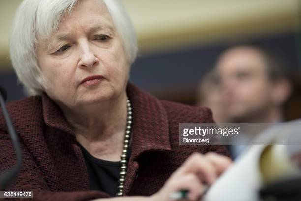 Janet Yellen chair of the US Federal Reserve listens during a House Financial Services Committee hearing in Washington DC US on Wednesday Feb 15 2017...