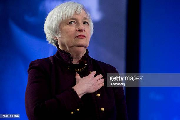Janet Yellen chair of the US Federal Reserve listens to the StarSpangled Banner during a Labor Hall of Fame Honor induction ceremony at the US...