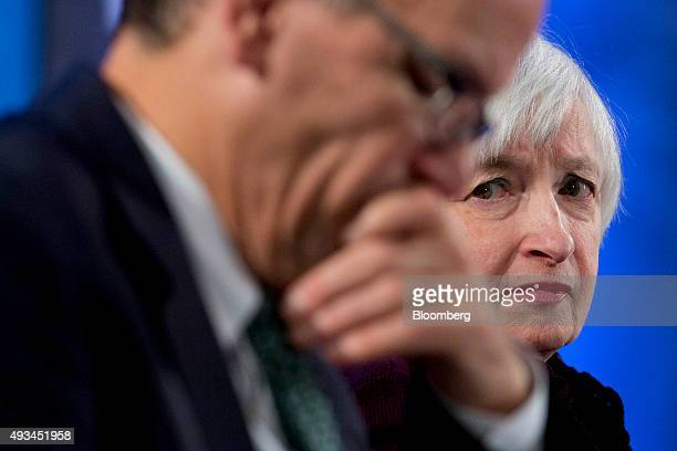 Janet Yellen chair of the US Federal Reserve right looks towards Thomas Perez US secretary of labor during a Labor Hall of Fame Honor induction...