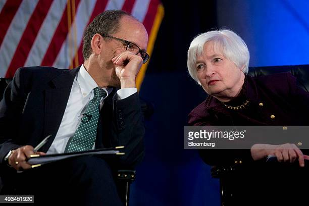 Janet Yellen chair of the US Federal Reserve right talks to Thomas Perez US secretary of labor during a Labor Hall of Fame Honor induction ceremony...