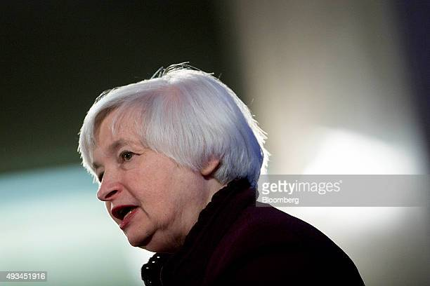 Janet Yellen chair of the US Federal Reserve speaks during a Labor Hall of Fame Honor induction ceremony at the US Department of Labor in Washington...