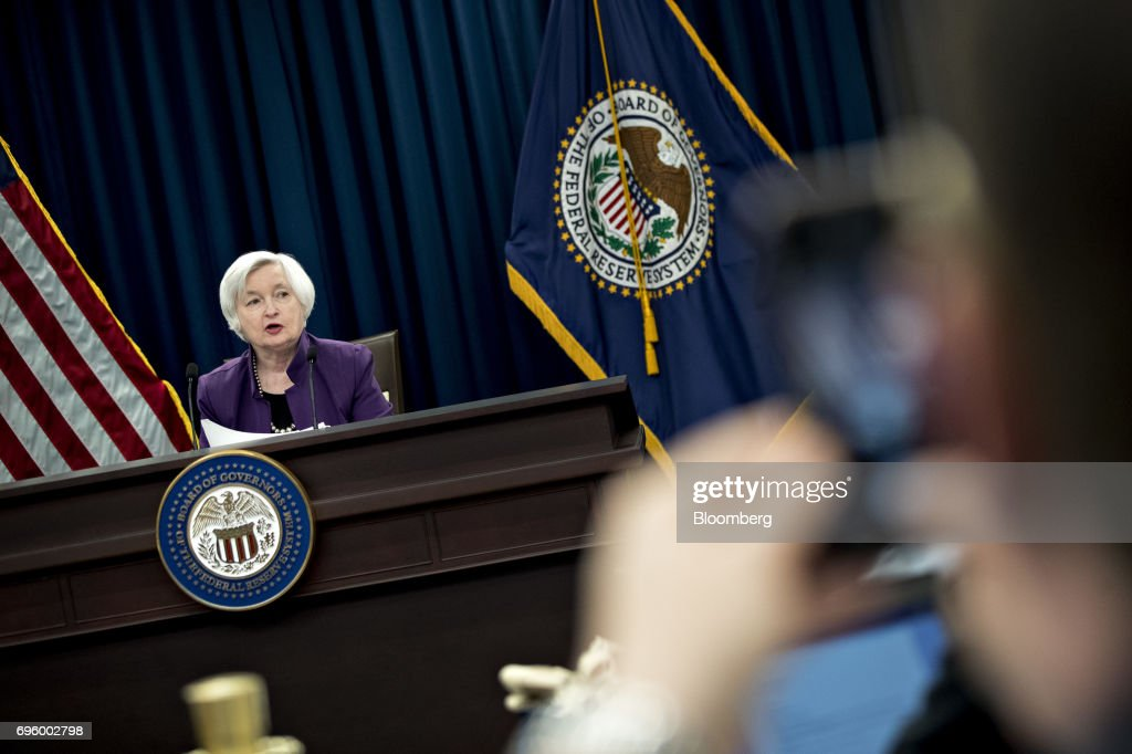 Fed Chair Janet Yellen Holds News Conference After FOMC Meeting : News Photo
