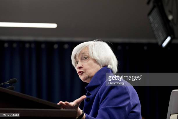 Janet Yellen chair of the US Federal Reserve speaks during a news conference following a Federal Open Market Committee meeting in Washington DC US on...