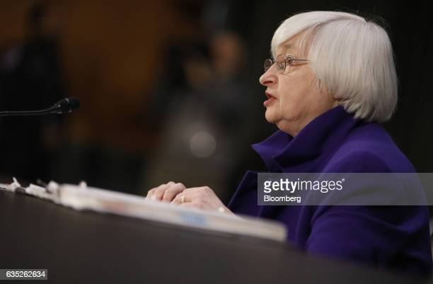 Janet Yellen chair of the US Federal Reserve speaks during a Senate Banking Housing and Urban Affairs Committee hearing in Washington DC US on...