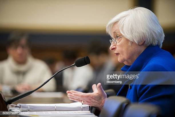 Janet Yellen chair of the US Federal Reserve speaks during her semiannual monetary policy report to the House Financial Services Committee in...