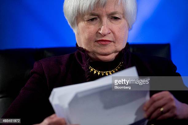 Janet Yellen chair of the US Federal Reserve waits to speak during a Labor Hall of Fame Honor induction ceremony at the US Department of Labor in...
