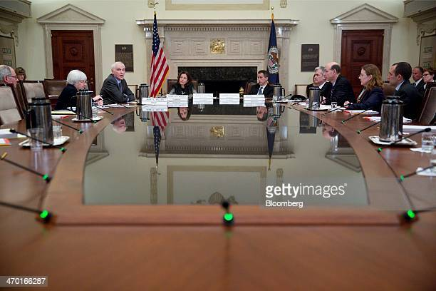 Janet Yellen chairman of the US Federal Reserve from left and Federal Reserve governors Daniel Tarullo Sarah Bloom Raskin Jeremy Stein and Jerome...