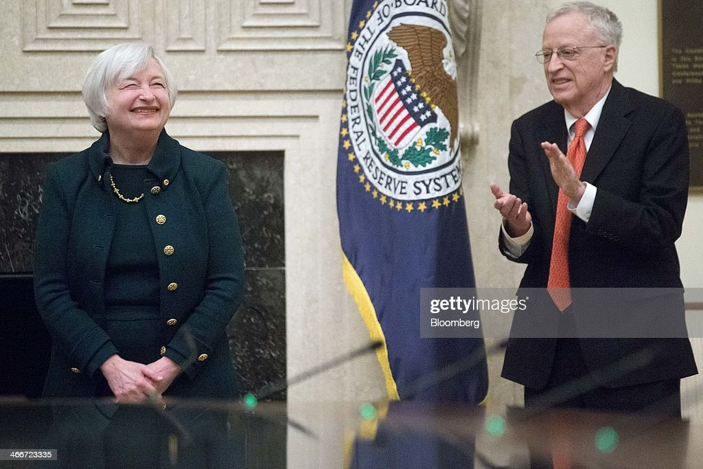 Yellen Takes The Oath Of Office As Chair Of The Board Of Governors Of The Fed Reserve : News Photo