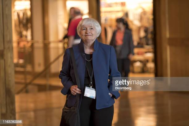 Janet Yellen, former chair of the U.S. Federal Reserve, arrives for dinner during the Jackson Hole economic symposium, sponsored by the Federal...
