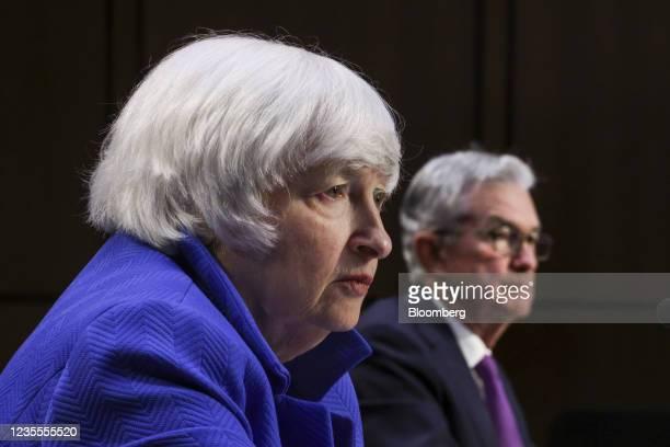 Janet Yellen, U.S. Treasury secretary, during a Senate Banking, Housing and Urban Affairs Committee hearing in Washington, D.C., U.S., on Tuesday,...
