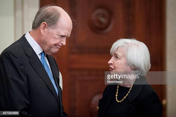 Janet Yellen vice chairman of the US Federal Reserve right speaks with Charles Plosser president of the Federal Reserve Bank of Philadelphia at an...