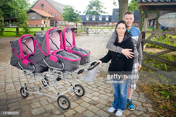 Janett Mehnert her husband Marcus and their quadruplets Sophie Jasmin Laura and Kim pose for a picture during their first holiday at a family farm on...