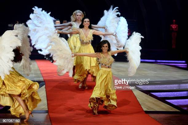 Janette Manrara Amy Dowden and Nadia Bychkova attend the 'Strictly Come Dancing' Live dress rehearsal at Arena Birmingham on January 18 2018 in...