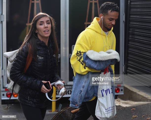Janette Manrara and Aston Merrygold arrive for Strictly rehearsals at a North London dance studio on October 31 2017 in London England