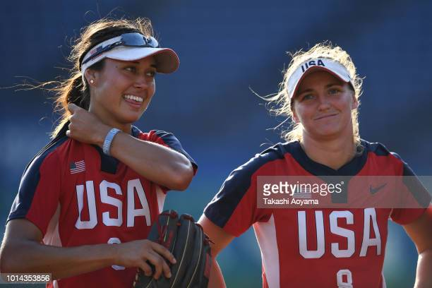 Janette Miiko Reed and Haylie Ann McCleney of United States celebrate after defeating Australia 31 in the Playoff Round match at ZOZO Marine Stadium...