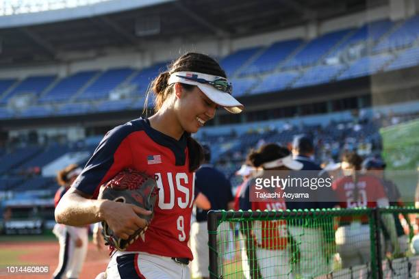 Janette Miiko Reed of United States celebrates after defeating Australia 31 in the Playoff Round match between United States and Australia at ZOZO...