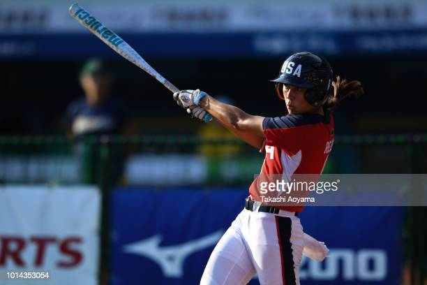 Janette Miiko Reed of United States hits a double in the fifth inning against Australia during their Playoff Round match at ZOZO Marine Stadium on...