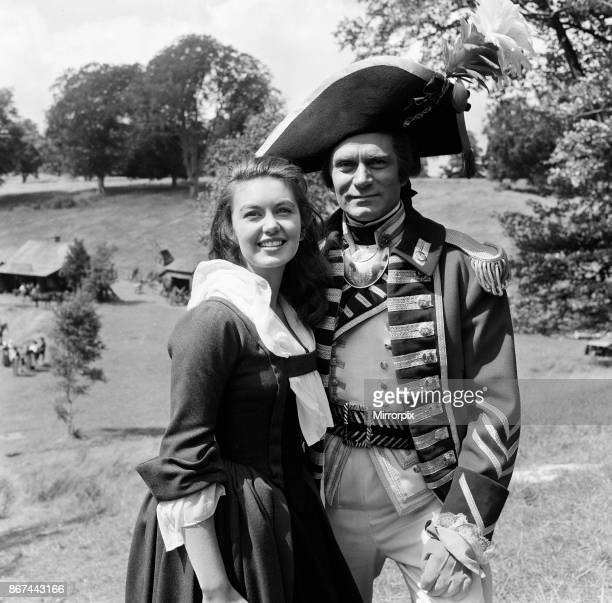 Janette Scott and Laurence Olivier on the set of 'The Devil's Disciple' in Tring Park Hertfordshire 30th July 1958