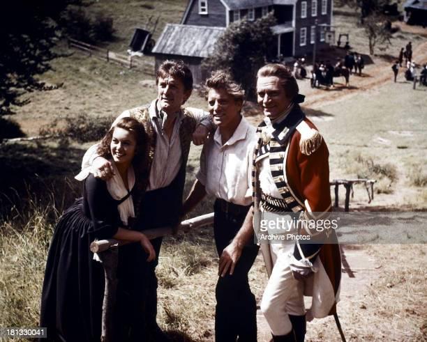 Janette Scott Kirk Douglas Burt Lancaster and Laurence Olivier in a scene from the film 'The Devil's Disciple' 1959