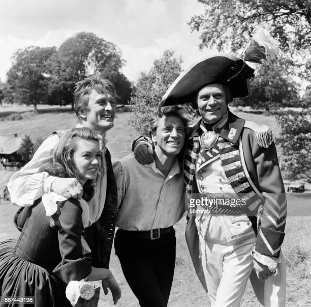 Janette Scott Kirk Douglas Burt Lancaster and Laurence Olivier on the set of 'The Devil's Disciple' in Tring Park Hertfordshire 30th July 1958