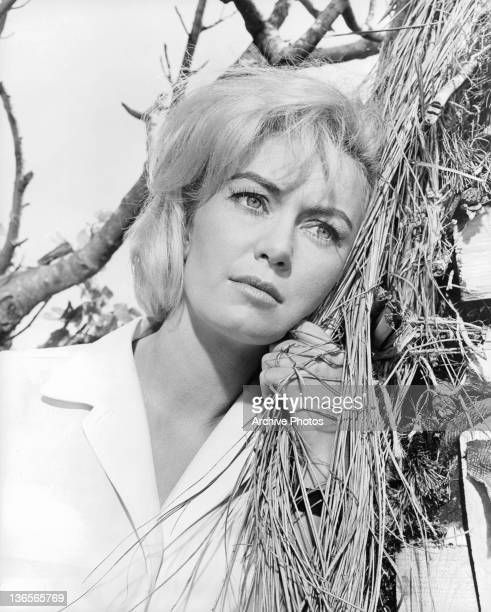 Janette Scott leaning against tree in a scene from the film 'Crack In The World' 1965