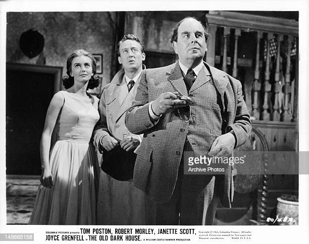 Janette Scott Tom Poston and Robert Morley looking up in a scene from the film 'The Old Dark House' 1963