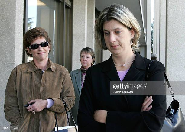 Janey Peterson sisterinlaw to convicted murderer Scott Peterson walks with Scott's sister Susan Caudillo as they leave the San Mateo Superior Court...