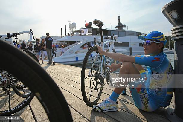 Janez Brajkovic of Slovenia and Astana Pro Team waits to board a boat before the Team Presentation ahead of the 2013 Tour de France on June 27 2013...