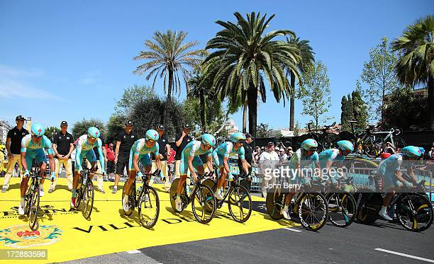 Janez Brajkovic of Slovenia and Astana Pro Team with his teammates during Stage Four of the Tour de France 2013 the 100th Tour de France a 25km team...