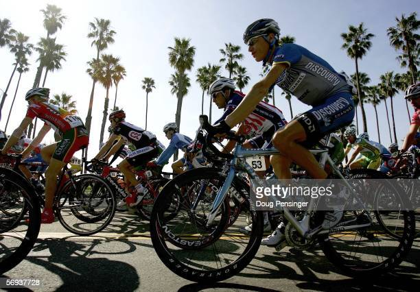 Janez Brajkovic of Slovenia and riding for the Discovery Channel Pro Cycling Team rolls along the beach as the peloton leaves the start for Stage Six...