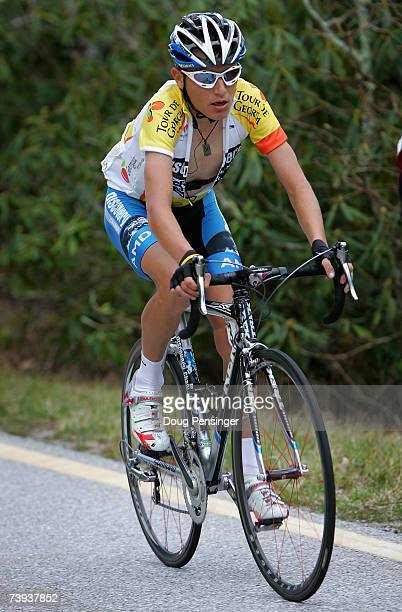 Janez Brajkovic of Slovenia and riding for the Discovery Channel Pro Cycling Team climbs Brasstown Bald as he defended the leaders jersey during...