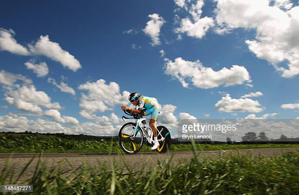 Janez Brajkovic of Slovenia and the Astana Pro Team in action during stage nine of the 2012 Tour de France a 415km individual time trial from...