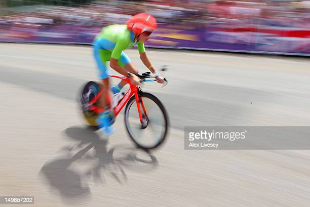 Janez Brajkovic of Slovenia in action during the Men's Individual Time Trial Road Cycling on day 5 of the London 2012 Olympic Games on August 1 2012...