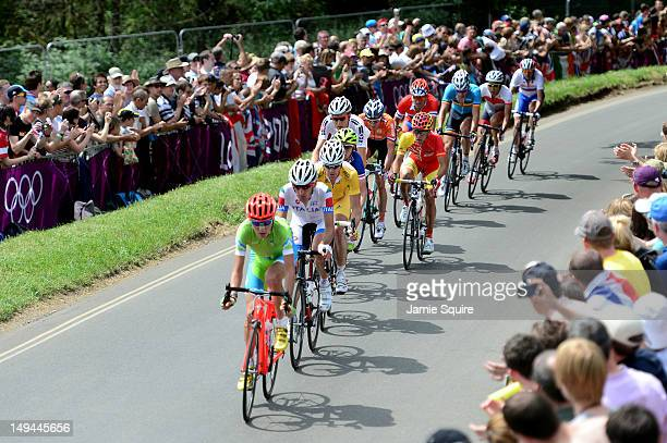 Janez Brajkovic of Slovenia leads the breakaway group during the Men's Road Race Road Cycling on day 1 of the London 2012 Olympic Games on July 28...