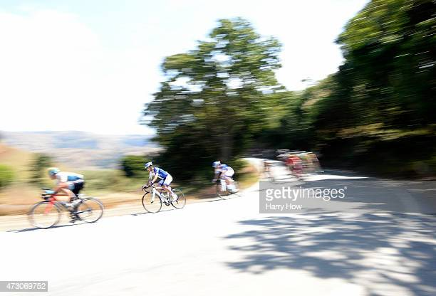 Janez Brajkovic of Slovenia riding for UnitedHealthcare descends with the pelaton during stage three of the 2015 Amgen Tour of California on May 12...