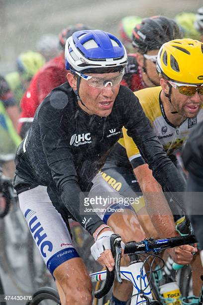 Janez Brajkovic riding for the UnitedHealthcare Pro Cycling Team rides in the heavy rains during the Amgen Tour of California Men's Race Stage 5 on...
