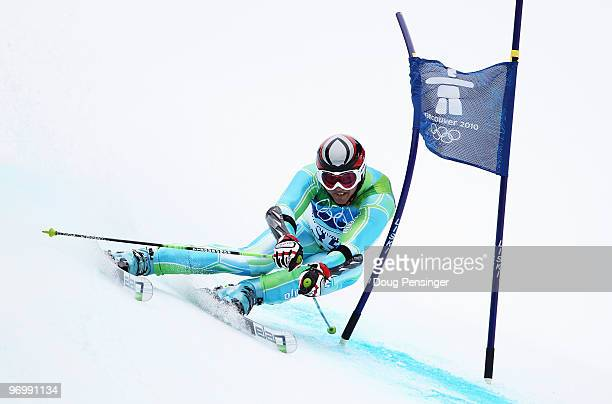Janez Jazbec of Slovenia competes during the Alpine Skiing Men's Giant Slalom on day 12 of the Vancouver 2010 Winter Olympics at Whistler Creekside...