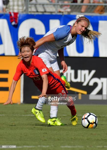 Jang Chang of Korea Republic collides with Lindsey Horan of USA during their game at WakeMed Soccer Park on October 22 2017 in Cary North Carolina