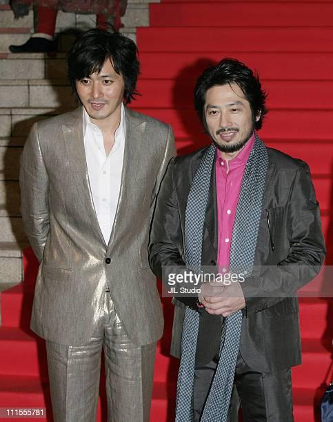 "Jang Dong-Gun and Hiroyuki Sanada during ""The Promise"" Tokyo Premiere - Red Carpet at VIRGIN TOHO Cinemas in Tokyo, Japan."