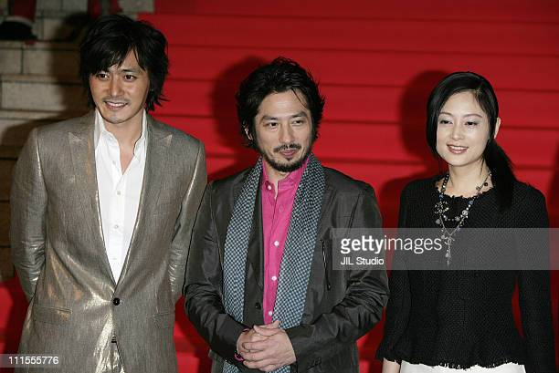 Jang DongGun Hiroyuki Sanada and Chen Hong during The Promise Tokyo Premiere Red Carpet at VIRGIN TOHO Cinemas in Tokyo Japan