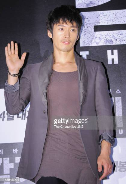 Jang Hyuk attends the 'The Flu' press conference at Wangsimni CGV on August 7 2013 in Seoul South Korea