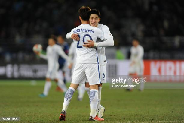 Jang Hyunsoo and Yun Youngsun of South Korea celebrate the East Asian Champions following their 41 victory in the EAFF E1 Men's Football Championship...