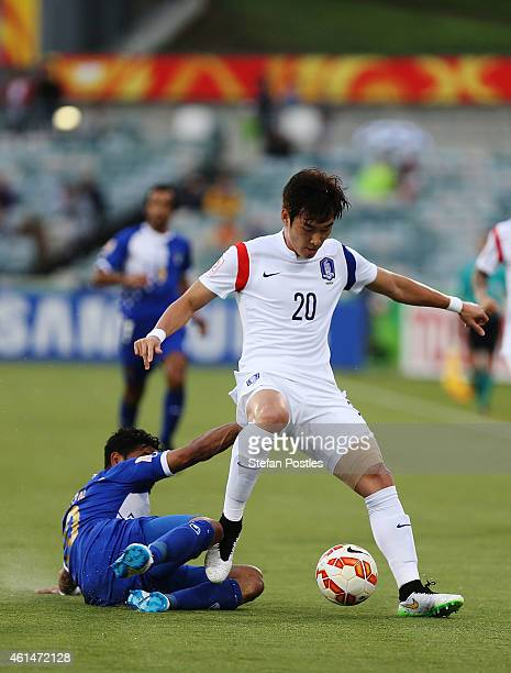 Jang Hyunsoo of Korea Republic in action during the 2015 Asian Cup match between Kuwait and Korea Republic at Canberra Stadium on January 13 2015 in...