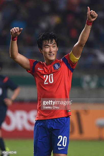 Jang Hyunsoo of South Korea celebrates after the final whistle during the Football Mens Quarter final match between South Korea and Japan at the...