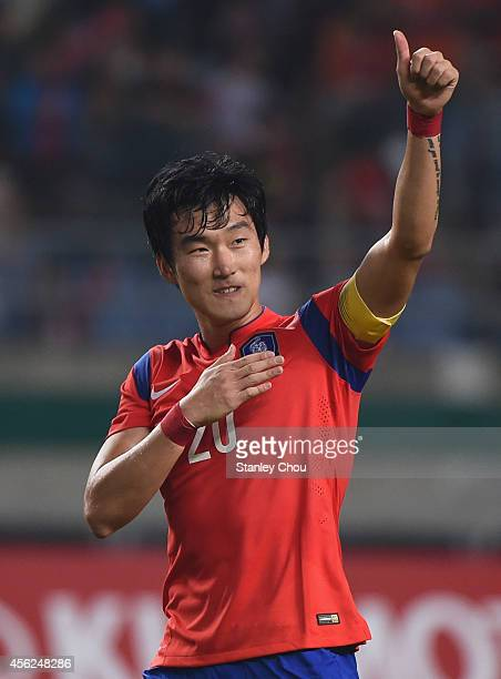 Jang Hyunsoo of South Korea scored the penalty celebrates after the final whistle during the Football Mens Quarter final match between South Korea...